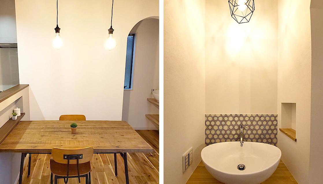 クラッシュゲートの家具と造作洗面台