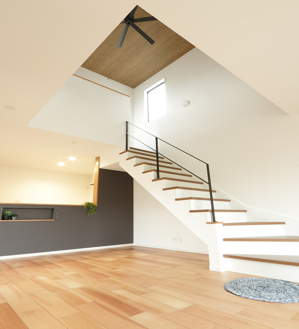 開放感のあるリビング階段