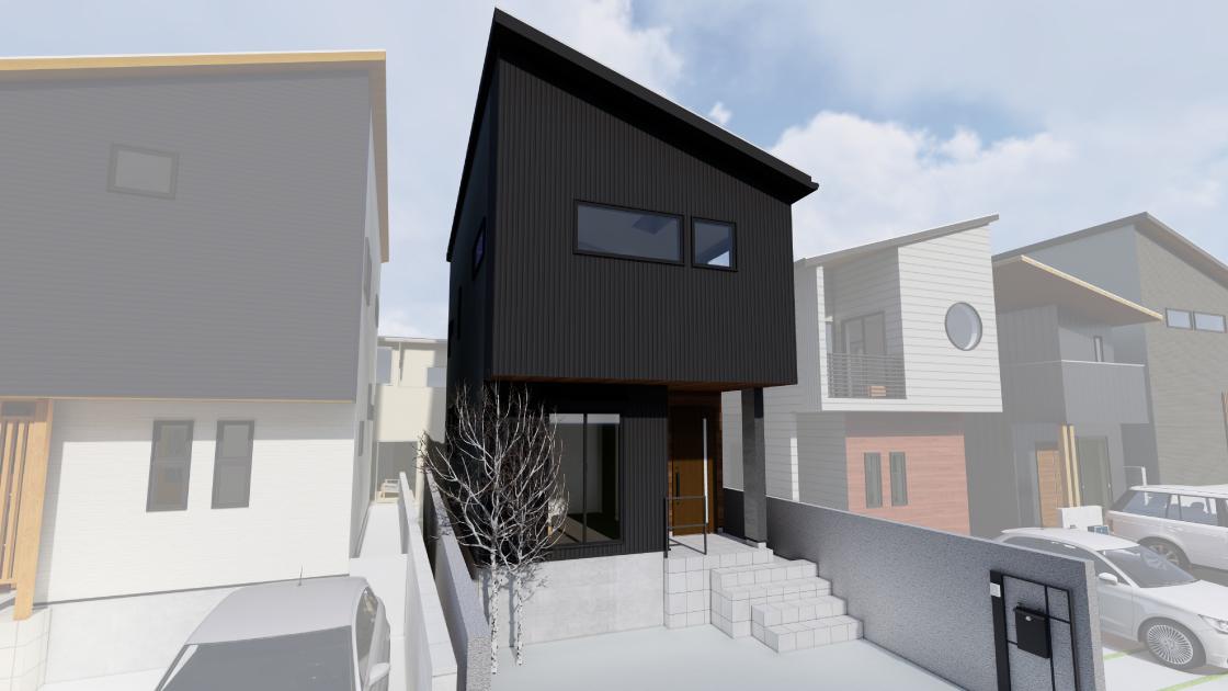 モノトーンで統一されたスタイリッシュな空間の家