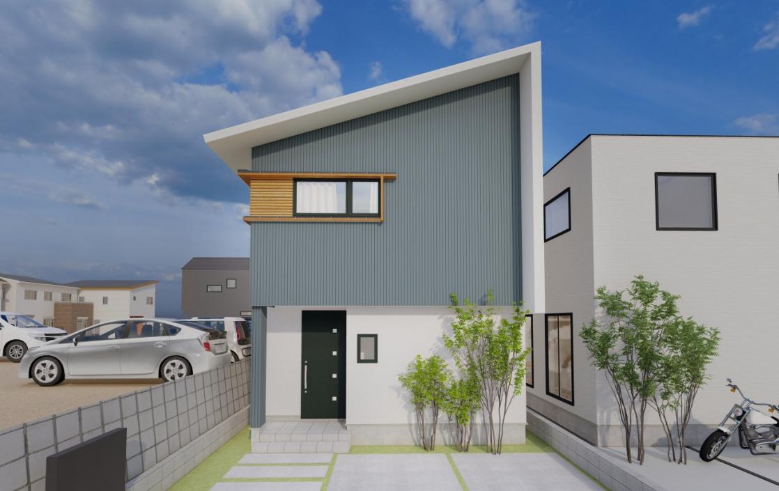 横格子デザインがアクセントの 心地よい家
