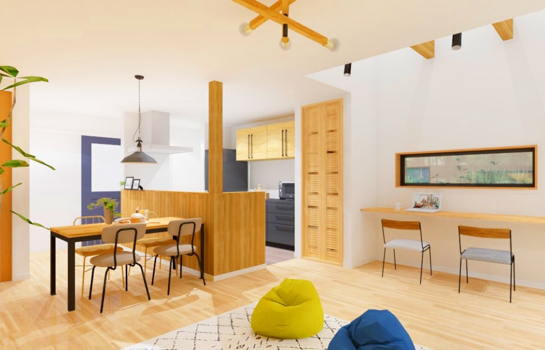 パイン材のキッチンと漆喰壁で仕上げた カフェのような家 | アトリエ・クラッセ 一級建築士事務所