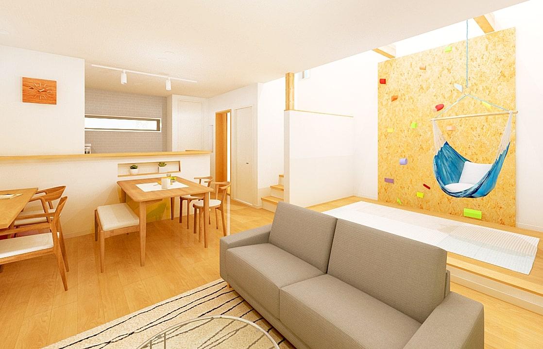 キッズスペースでボルダリングを楽しむ家   クラッセ住宅販売株式会社